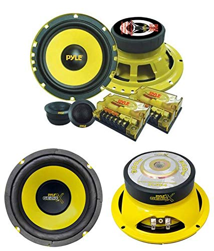 "2) PYLE PLG6C 6.5"" 400W 2 Way Car Component+ 2) 6.5"" 300W Subwoofer Sub Speakers"