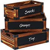 GREENSTELL Storage Crates, Wooden Crates with Handles and Hanging Chalkboard Decorative Display Wall Mounted Rustic Wood Crate Box for Party, Office, Bedroom, Kitchen, Closet Set of 3 Brown