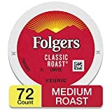 Folgers Classic Roast Coffee, Medium Roast Coffee, K Cup Pods for Keurig Coffee Makers, 72 Count