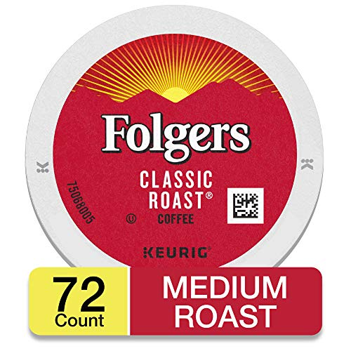 Folgers Classic Roast, Medium Roast Coffee, K-Cup Pods for Keurig K-Cup Brewers, 18-Count (Pack of 4)
