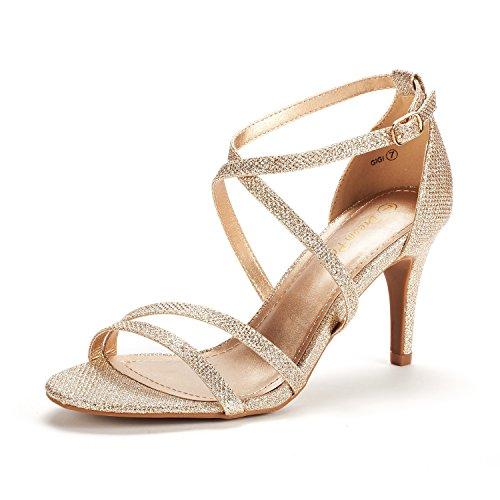 DREAM PAIRS Women's Gigi Gold Glitter Fashion Stilettos Open Toe Pump Heeled Sandals Size 7.5 B(M) US