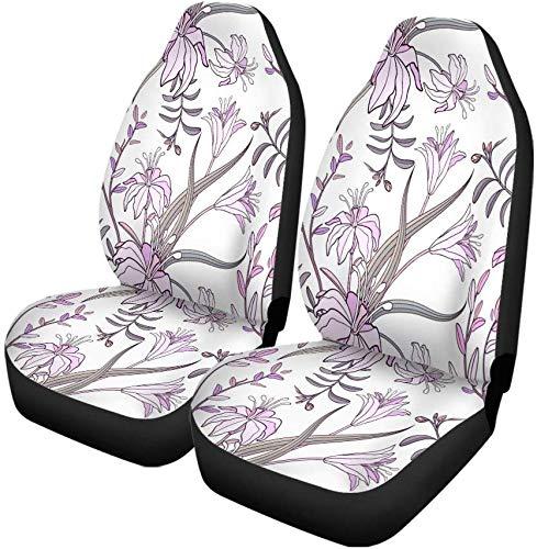 Set van 2 Auto Stoelhoezen Beige Leuke Lelie Bloemen Kleurrijke Elegante Bloemen Mooie Land Universele Auto Voorstoelen Beschermer Past Voor Auto