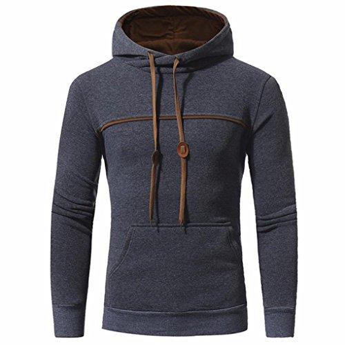 Yukong pour Homme Automne Hiver Slim Fit Sweat à Capuche à Capuche Chaud Veste Manteau, Deep Gray