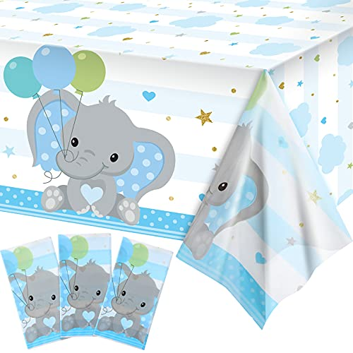 3 Pieces Baby Shower Table Cover Decorations Blue Elephant Tablecloth Table Cover Plastic Rectangle Table Decors for Baby Boy Gender Reveal Party Supplies, 54 x 108 Inches
