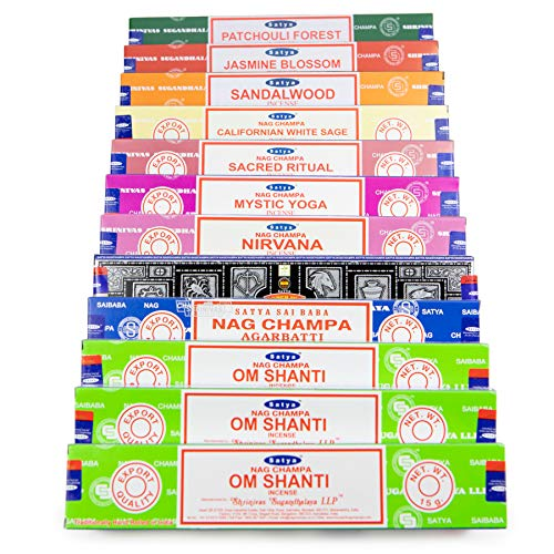 Indian Arts Om Shanti Satya Räucherstäbchen-Set OS1 12 x 15 g Packung enthält: 3 Om Shanti, Nag Champa, Superhit