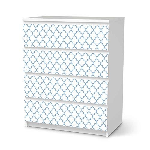 creatisto Möbel Klebefolie passend für IKEA Malm Kommode 4 Schubladen I Möbelsticker - Möbel-Aufkleber Folie Tattoo I Wohndeko für Wohnzimmer und Schlafzimmer - Design: Retro Pattern - Blau