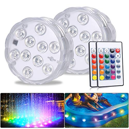 MAVIE Lumière LED Submersible, Paquet de 2 Lampes LED Imperméable Avec Télécommande RVB Changement de Couleur RVB Eclairage de Bassin Décoration pour Vase Base, Piscine, Aquarium