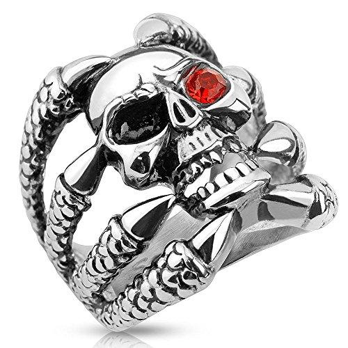 Bungsa 70 (22.3) Ring Totenkopf Silber Herren - TOTENSCHÄDEL mit Klauen Fingerring für Männer - Edelstahl-SCHMUCK Ring für Biker & echte Kerle - Skull Siegelring extra groß, massiv & breit