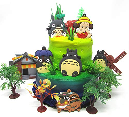 Totoro Deluxe Birthday Cake Topper Set Featuring Totoro and Friends Characters and Decorative Themed Accessories