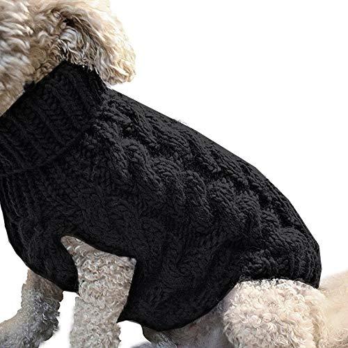 ASKSA Hundepullover Haustier Warmer Mantel Strickwolle Winterpullover für kleine und mittelgroße Hunde (M, Schwarz)