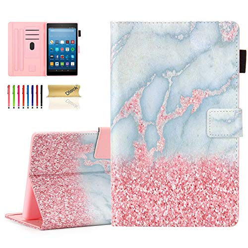 Dteck Case Cover for Kindle Fire HD 8 Tablet (Previous Generation - 8th 7th 6th Generation) - Auto Sleep Wake Case Synthetic Leather Protector Flip Wallet Stand Folio Cover Sleeve (White Pink Marble)