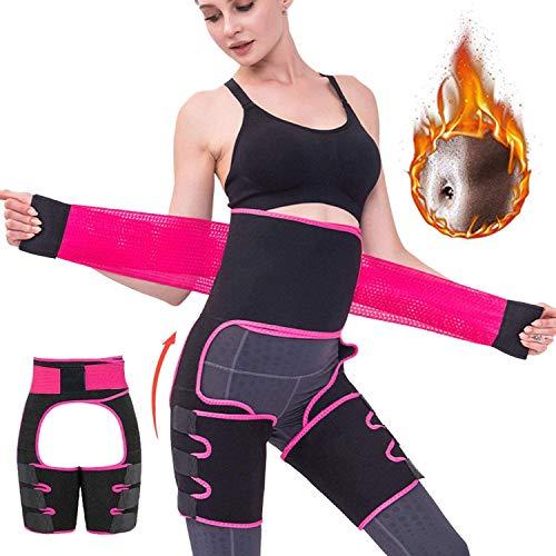 Newlemo Schwitzgürtel, Bauchweggürtel Damen - Verstellbarer Schwitzgürtel zum Abnehmen, 3-in-1 Bauchgürtel für Frauen Gewichtsverlust und Körperformung