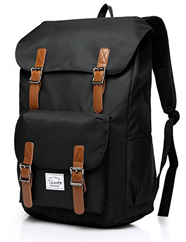 VASCHY Backpack for Men, Women Casual Lightweight Backpack Camping Rucksack Fits 15.6 Inch Laptop Teen School Backpack-Black