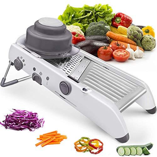 XIONGGG - Cortador de verduras de acero inoxidable con cuchillas de seguridad incorporadas, rallador de patatas, verduras y cebollas y frutas