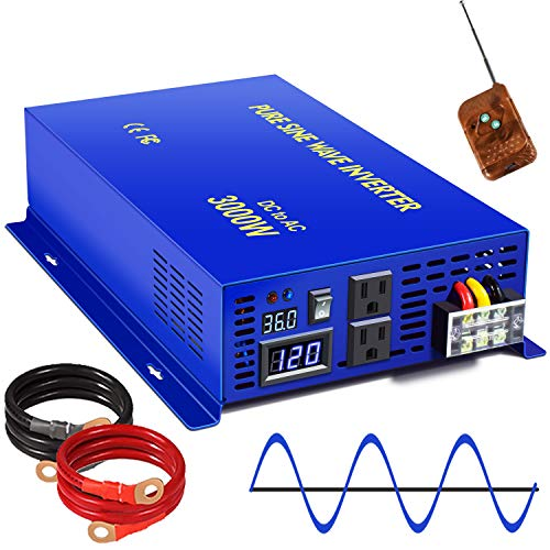 XYZ INVT 3000W Pure Sine Wave Power Inverter - 36V DC to AC 120V 110V with 150ft Wireless Remote Switch Controller, Surge Power 6000w, Power Converter for Off Grid Solar System. (3000W 36V/ Wireless)