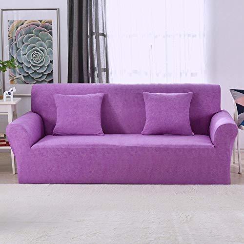 NIASGQW Funda para Sofá Elasticas de 3 Plazas -Lmpresión Floral Fundas Decorativas para sofás(Gratis 2 Funda de Cojines) Universal Muebles Fundas Decorativas para Sofás -Patrón de Lino Morado
