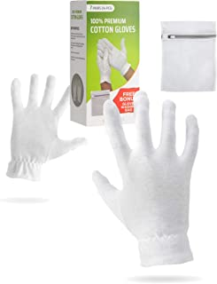 Moisturizing Gloves OverNight Bedtime Cotton | Cosmetic Inspection Premium Cloth Quality | Eczema Dry Sensitive Irritated Skin Spa Therapy Secure Wristband