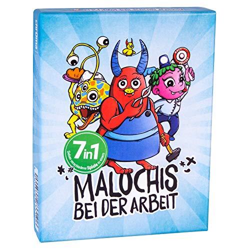 Malochis – Bei der Arbeit, Spielesammlung mit 7 abwechslungsreichen Karten-Spielen, ideal zum Mitnehmen für unterwegs, Kinder ab 4 bis 8 Jahren , je 27 Monster Spielkarten und Werkzeugekarten