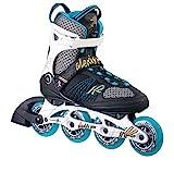K2 Skate Women's Alexis Pro 84 Inline Skates, White/Blue/Gold, 7