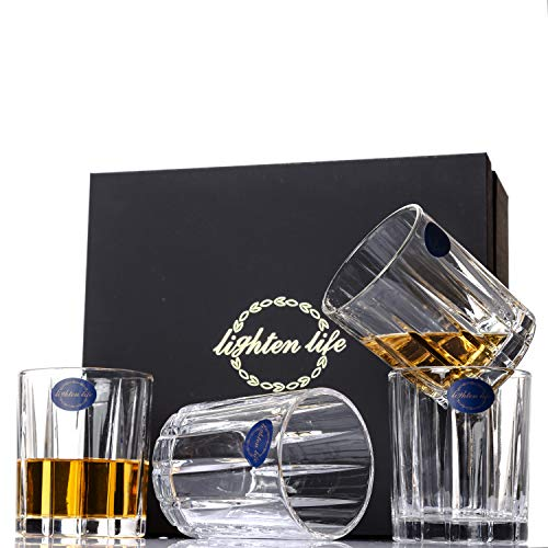 Lighten Life Whiskey Glass Set in Luxury Gift Box, Old Fashioned Lead-Free Crystal Glass for drinking Bourbon, Cognac, Irish Whiskey
