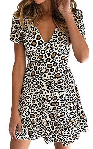 ECOWISH Womens Deep V Neck Floral Leopard Dress Short Sleeve Sexy Ruffles Fashion Mini Dress White L