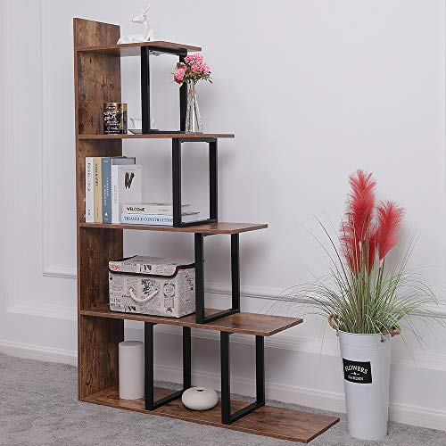 "Iwell Wooden 5-Tier Bookshelf, 40.7""L x 11.8""W x 62.9""H Large Ladder Shelf, Corner Display Shelves for Living Room, Storage Rack in Home Office Hallway, Rustic Brown SJX002X"