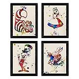 Set von vier Farb-Burst-Stylesheets. Poster Alice im