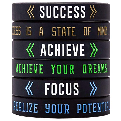 Sainstone Success, Achieve, Focus - Motivational Silicone Bracelets - Inspirational Silicone Wristbands with Inspirational Messages - Adult Unisex Size for Men Women Teens Athletes (Unisex 3-Pack)