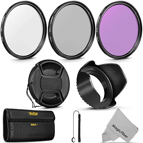 52MM Vivitar UV CPL FLD Professional Lens Filter Kit and Accessory Set for Nikon and Canon Lenses with a 52mm Filter Size