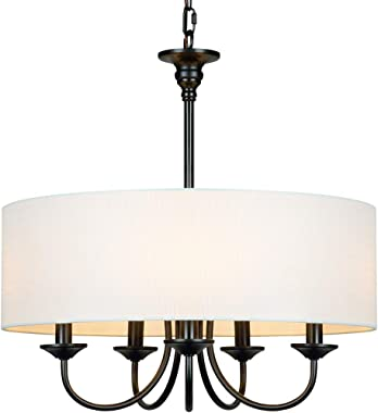 "T&A Traditional 5-Light Chandelier with White Linen Drum Shade,20"" Simple Chain Pendant Light Lights for Foyer Dining Room Li"