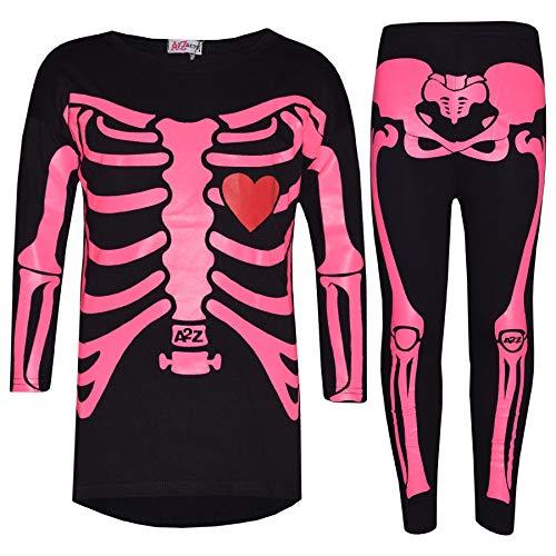 A2Z 4 Kids® Meisjes Tops Kids Ontwerper Skeleton Print T-shirt Top & Mode Legging Set Halloween Kostuum Leeftijd 5 6 7 8 9 10 11 12 13 Jaar