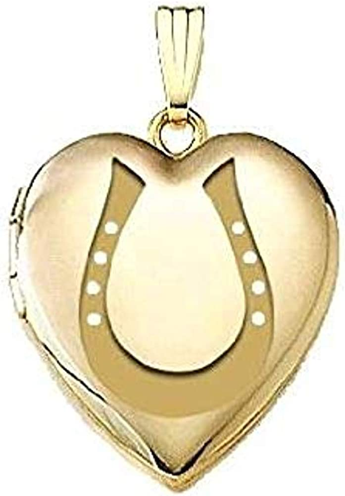 PicturesOnGold.com Solid 14K Yellow Gold Horeshoe Locket 3/4 Inch X 3/4 Inch in Solid 14K Yellow Gold