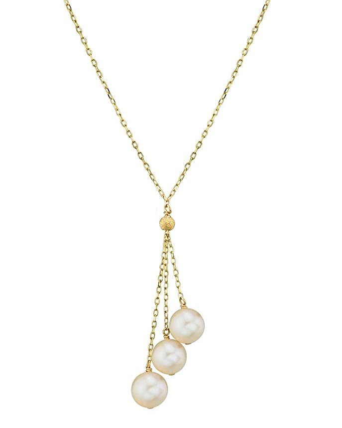 THE PEARL SOURCE 14K Gold 7.0-7.5mm AAA Quality Round White Japanese Akoya Saltwater Cultured Pearl Tincup Cluster Pendant Necklace for Women