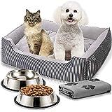 Guardian Bear Cama Perro o Cama Gato 65x50cm con Comedero, Bebedero y Manta. Pack 4 en 1 Básico para Mascotas Pequeñas y Cachorros