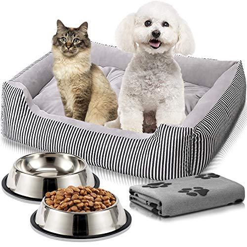 Cama Perro o Cama Gato 65x50cm con Comedero, Bebedero y Manta. Pack 4 en 1 Básico para Mascotas Pequeñas y Cachorros (Gris)