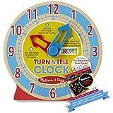 Turn & Tell Clock + 1 Melissa & Doug Scratch Art Mini-Pad Bundle (42840)