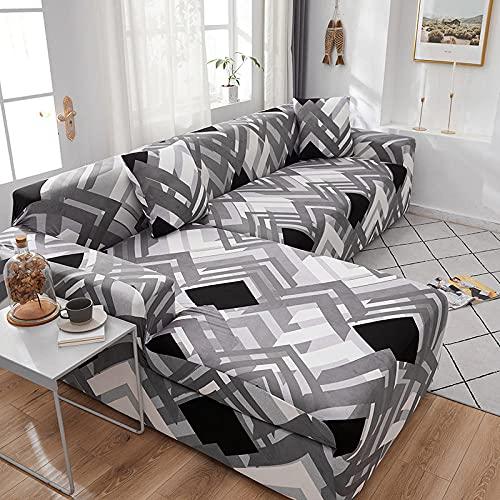 Funda de Sofá4 Plazas,Jacquard Poliéster Funda Sofa Elasticas Suaves Resistentes Sofa Antideslizante, Cubierta para Sofa Protector-Rejilla Gris, Negra
