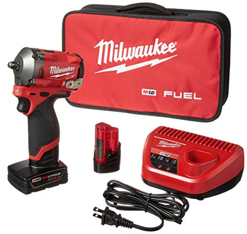 Milwaukee 2554-22 M12 FUEL Stubby 3/8 in. Impact Wrench Kit (2 Ah/4 Ah)