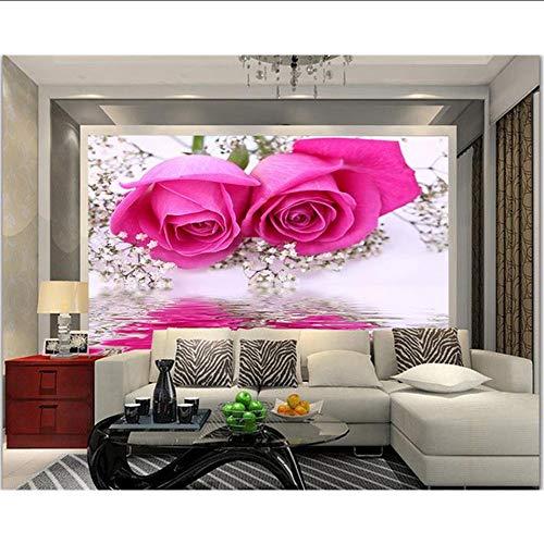 Qwerlp Kundenspezifisches Fototapete Der Tapete 3D Wandvlies Rose-Reflexionswassersofahintergrundwandanstrich-Wohnzimmertapete Für Wände 3D-350Cmx250Cm