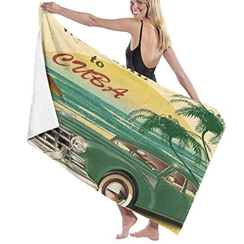 Grande Suave Toalla de Baño Manta,Bienvenido nostálgico a Cuba Impresión artística con Coche clásico Playa Océano Palmeras,Hoja de Baño Toalla de Playa por la Familia Viaje Nadando Deportes,52' x 32'
