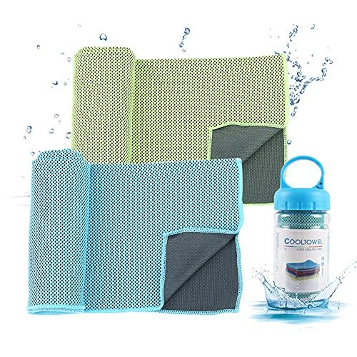 Fcslvy Kühltuch Kühlendes Handtuch, 2pcs Mikrofaser Handtuch,Atmungsaktives Handtuch,Ultra Leicht & Schnelltrocknend, Kühlhandtuch, Sporthandtuch, für Laufen, Trekking, Reise, Yoga(30x100cm)