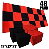 48 Pack 12'X 12'X1' Acoustic Panels Studio Soundproofing Foam Wedge Tiles, (24RED+24BLACK)