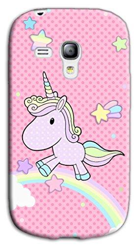 Mixroom - Cover Custodia Case in TPU Silicone Morbida per Samsung Galaxy S3 Mini I8200 I8190 W348 Unicorno Arcobaleno