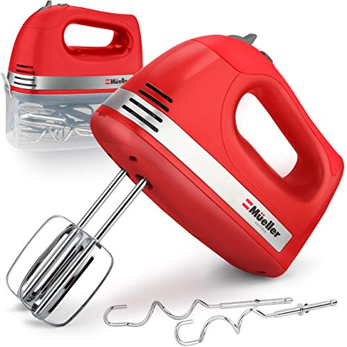 Mueller Electric Hand Mixer, 5 Speed 250W Turbo with Snap-On Storage Case and 4 Stainless Steel Accessories for Easy Whipping, Mixing Cookies, Brownies, Cakes, and Dough Batters - Red