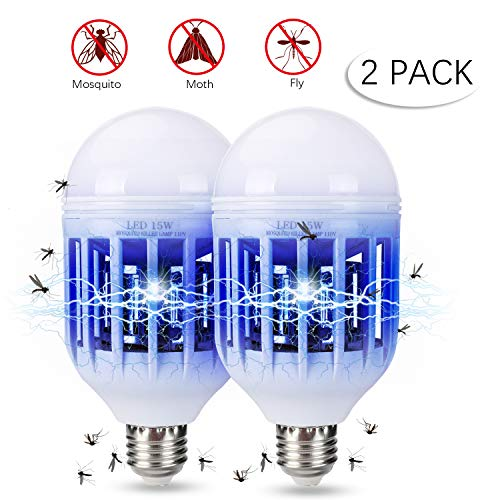 BFVV Bug Zapper Light Bulb 15W 2 in 1 Mosquito and Insect Killer Lamp for Indoor and Outdoor 1200LM E26 Base - 2 Pack