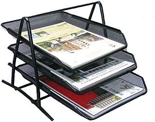 Minima 3 Tier Stackable Desktop Document Paper Letter File Sliding Tray Desk Organiser for Home Office School, Black