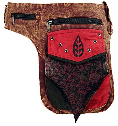 Guru-Shop Goa Gürteltasche, Bauchtasche, Patchwork Sidebag - Rot, Herren/Damen, Baumwolle, Size:One Size, 30x20 cm, Festival- Bauchtasche Hippie