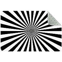 エリアラグ軽量 黒と白の線 フロアマットソフトカーペットチホームリビングダイニングルームベッドルーム