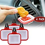 XY100T In-Car Sauce Cup Dipping Holder Dip Clip Car Accessories Sauce Cup Holder For Vents Of Vehicle Bowl Plate Holder Ketchup Mini Dipping Cups(Red 4PCS)