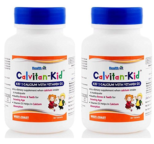 HealthVit Calvitan-KID Kid's Calcium, Vitamin D3-60 Tablets (Pack of 2)